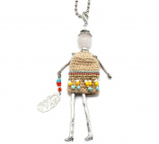 SP612 Sautoir Necklace Articulated Woman Doll Pendant and Metal Chain - Fashion Jewellery