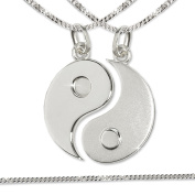 CLEVER Jewellery Silver Pair of Pendants Yin Yang matt Shiny 925 Silver with 2 Curb Chains Each 50 CM