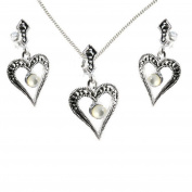 925 Sterling Silver Marcasite Heart Mother of Pearl GIFT SET