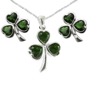 925 Sterling Silver Green Stone Heart Shamrock GIFT SET, Pendant, Earrings and Curb Chain - A Traditional Irish Gift