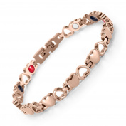 Rainso Elegant Ladies Rose Gold Heart Titanium Steel Bracelet with Four Elements Therapy Power Link Bracelet