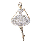 Trendy Flower Girl Jewellery Gold-Tone Clear Crystal Dancing Ballet Girl Art Deco Accessory Brooch Pin