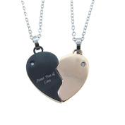 2 Pcs Couple's Necklace Stainless Steel Hearts Design CZ Pendant