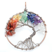 JSDDE Tree of Life Wire Wrapped Crystal Chip Gemstone 7 Chakra Healing Balance Reiki Pendant Necklace For Jewellery Making