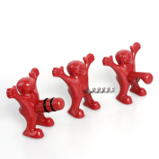 Wine Stopper and Bottle Opener Set, Three Cute Red Men of Novelty Corkscrew, Perfect Gag Gifts Collection for Men and Women