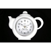 Modern Hanging White Tea Pot Shaped Clock Kitchen 'Happiness Is Homemade' Gift