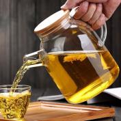 Dealglad® High Capacity Heat Resistant Filter Strainer Bamboo Lid Handcraft Water Jug Flower Teapot Coffeepot Glass Kettle