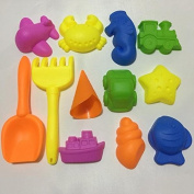 12 pcs beach indoor kinetic motion sand modelling assorted colourful mould toys
