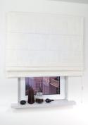 Fabric Roman Shade Window Blind - Cord - Circles - Cream - 60 x 160cm