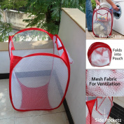 Folding Laundry Clothes Washing Storage Hamper Pop Up Mesh Fabric Bathroom Bin Bag Basket