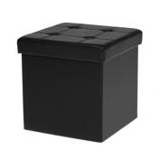 IKAYAA Folding Storage Ottoman Cube Foot Stool Seat Footrest Foldable Storage Box Pouffe PU Leather