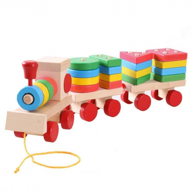 Lewo Deluxe Stacking Train Set Wooden Car Sets Block Games Push Pull Along Shapes Puzzles Toddler Toys