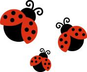 3 x Ladybird Car,Van,Wheelie Bin Camper Wall Nursery Stickers Decals LS2001