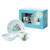 Wedgwood Boy's Peter Rabbit 3-Piece Plate, Bowl and Mug Set, White and Blue