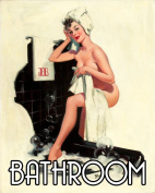 Bathroom Pinup getting in Bath Pin-up Girl 15cm x 20cm METAL Wall Sign Plaque Vintage Retro poster art picture print