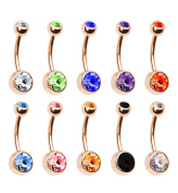 BodyJ4You® Lot of 10pc 14G Belly Button Ring Body Jewellery Piercing 10 Pack