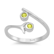 Toe Ring Sterling Silver Yellow Cubic Zirconia Model 1
