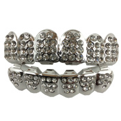 24K White Gold Plated Iced Out Grillz With Cubic Zirconia Diamonds + 2 Extra Moulding Bars