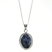 Blue John (Derbyshire) Pendant and Chain - Sterling Silver Rope Edge Drop