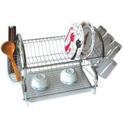 2 TIER CHROME PLATED DISH PLATE CUP BOWL DRAINER DRYER HOLDER STORAGE SINK RACK