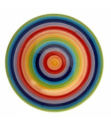 NEW RAINBOW HOOPS DINNER PLATES SET OF 4 (COLOURFUL TABLEWARE) CERAMIC STRIPED PLATES