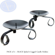 PACK of 2 - Black SPIKED 3 Legged CANDLE Holders