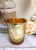 Mercury Glass Tea Light Holder Antique Gold Candle Votive Wedding Decoration