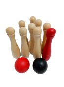 Funmate Wooden Skittles Garden Game Set ,Real Solid Wood Deluse Garden Bowling Set