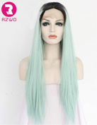 RZWD Ombre Light Green Lace Front Wigsfor White Women Dark Roots Straight Long Synthetic Hair Heat Safe Half Hand Tied 60cm