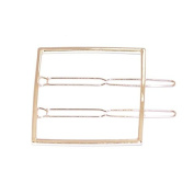 ANGELANGELA Minimalist Gold Silver Square Hollow Geometric Metal Hairpin DOUBLE Hair Clip Clamps Accessories Barrettes Bobby Pin Ponytail Holder Statement Women's GIFT Headwear Styling Jewellery