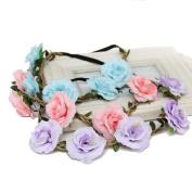 3pcs Women Girl Boho Flower Garland Crown Festival Hair Wreath Floral Headband