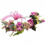 Bride Flower crown Headband Garland with Adjustable Ribbon for Wedding festival