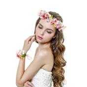 2pc/set Flower Wreath Headband and Wrist Flower Crown Ribbon Adjustable Garlands