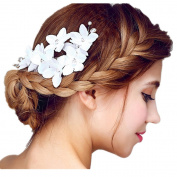 Bridal Hair Flower & Pearl Side Comb Bridal Barrette Headpiece, Wedding Accessories