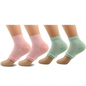 AYAO Moisturising Gel Heel Open Toe Socks for Dry Hard Cracked Skin (Pink and Green) -2 Pair