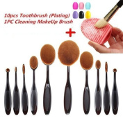 Aoohe Kabuki Oval Toothbrush Contour Makeup Brush Sets with Silicone Cleaning Mat Tools