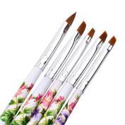 OVERMAL 5pcs UV Gel Acrylic Nail Art Brush Painting Pen Set Nail Design Manicure Tool