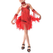 TOOGOO(R) New Children Kids Sequin Feather Fringe Stage Performance Competition Ballroom Dance Costume Latin Dance Dress For Girls Red,M