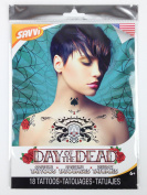 Day Of The Dead Skull & Roses Chest, Shoulder & Neck Tattoo Pack