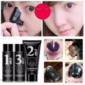 Nose Black Mask LuckyFine Blackhead Acne Removal Nasal Membrane Care Set including Hyaluronic Acid Essence Liquid, Activated Carbon Cream