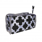 Best New Quatrefoil Black & Grey Lined Hanging Toiletries Travel Bag Case Shaving Dopp Kit with Zipper & Strap Hanger by TravelNut® Men Boys Unisex