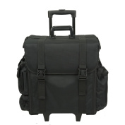 Hiker Professional Carry On Soft Sided Makeup Rolling Case, Nylon Black