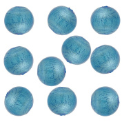 Light Aqua Round 6mm Silver Foil Murano Glass Bead .925 Silver Foil, 10 Pieces