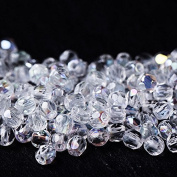 3 mm Czech Glass Beads Fire Polished Faceted Round 60 pcs, Clear with AB Coating