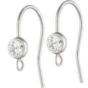 .925 Sterling Silver Earring Wire with Bezel Set 4mm White AAA CZ and Ring, Pair