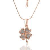18K Rose Golden Necklace Chain with Four leaf clover Crystal Pendant,Valentine's Day gift, Christmas gift