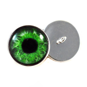 Glass Eyes For Dolls With Loops 16mm Green Iris Pupils Glass Eye Cabochons for Fantasy Art Doll Stuffed Animal Soft Sculptures or Jewellery Making Crafts Set of 2
