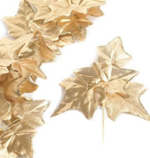 Factory Direct Craft® Group of 6 Versatile Artificial Gold Ivy Leaf Picks for Wedding Decor, Floral Arranging and Embellishing
