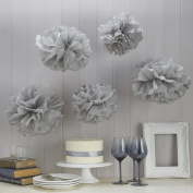 Sorive® Grey Tissue Paper Pom Poms 5 Pack Wedding, Christmas & Party Decorations - Vintage Lace