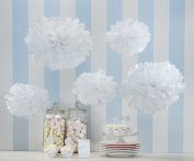 Sorive® White Tissue Paper Pom Poms 5 Pack Wedding & Party Decorations - Vintage Lace